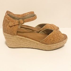 TOMS Cork Wedges with Ankle Strap Size 7